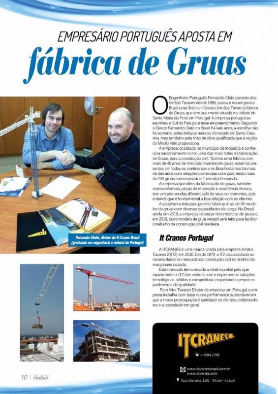 Matéria da IT CRANES BRASIL, na Revista Indaiá na edição 03, de março 2018